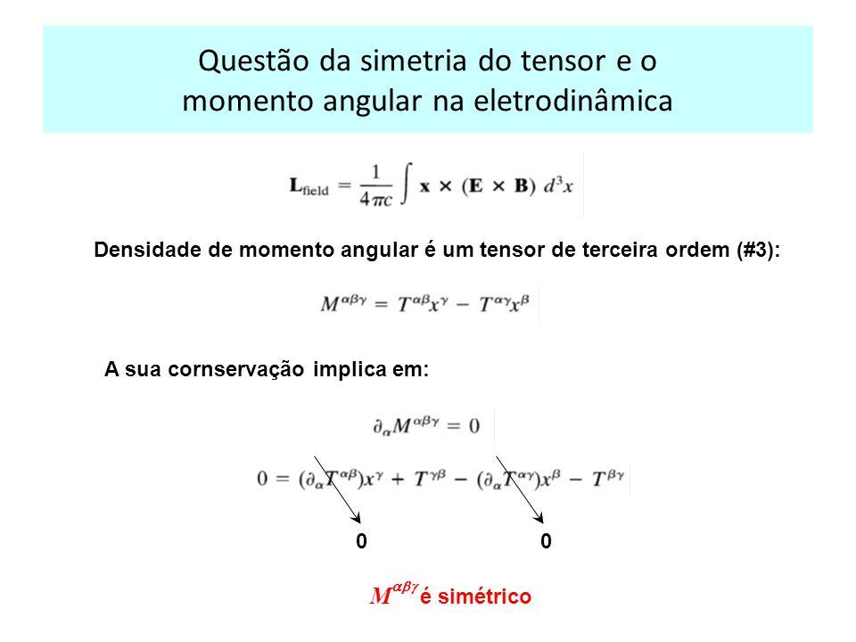Questão da simetria do tensor e o momento angular na eletrodinâmica