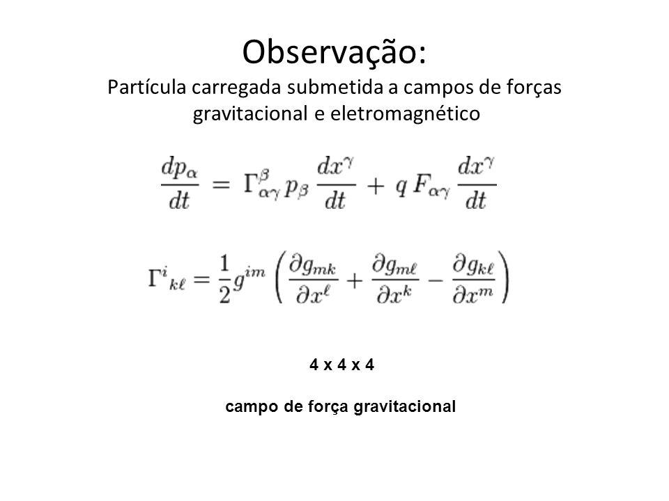 Observação: Partícula carregada submetida a campos de forças gravitacional e eletromagnético