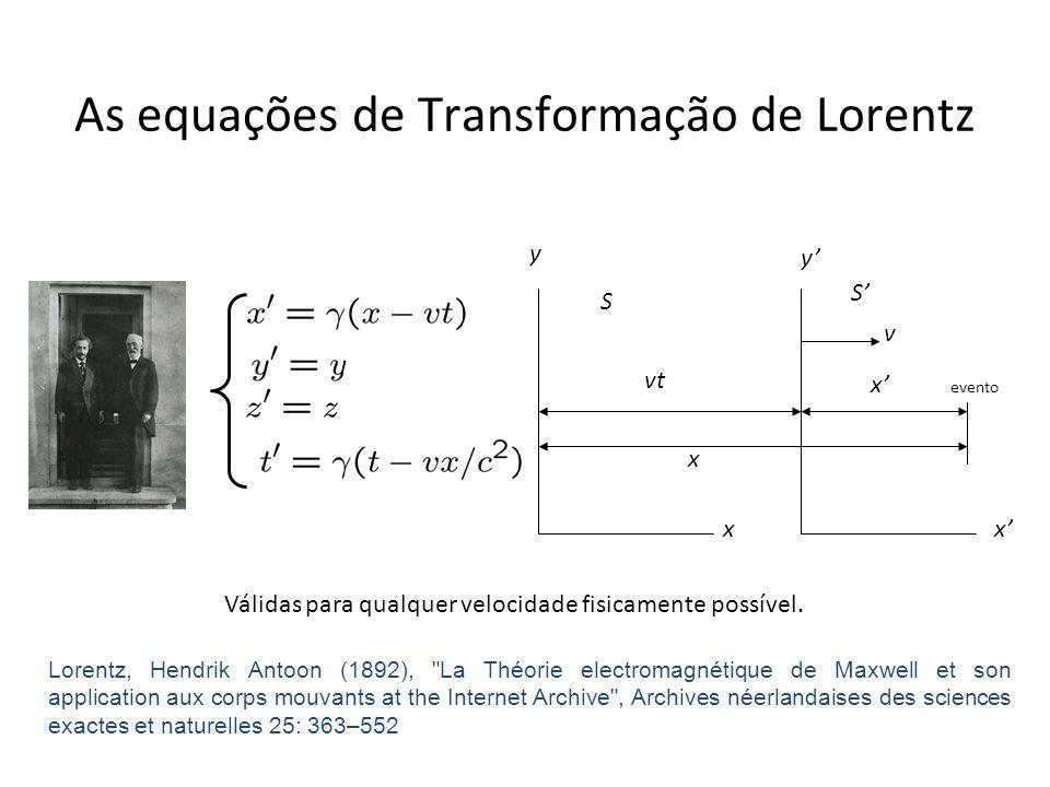 As equações de Transformação de Lorentz
