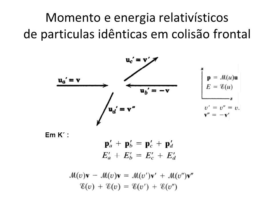 Momento e energia relativísticos de particulas idênticas em colisão frontal