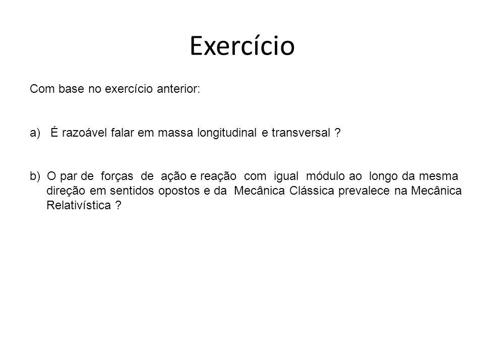 Exercício Com base no exercício anterior: