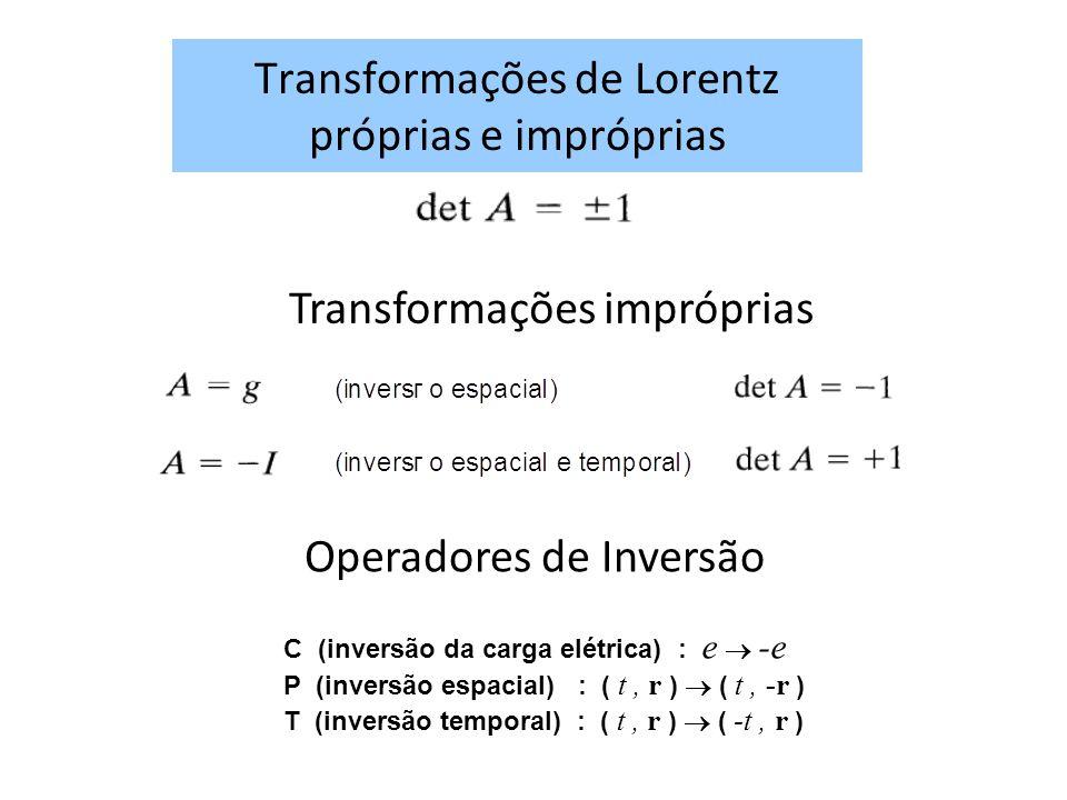 Transformações de Lorentz próprias e impróprias