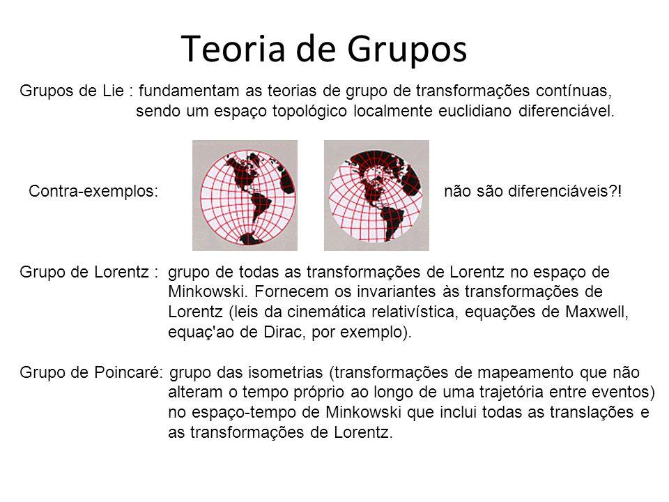 Teoria de Grupos Grupos de Lie : fundamentam as teorias de grupo de transformações contínuas,