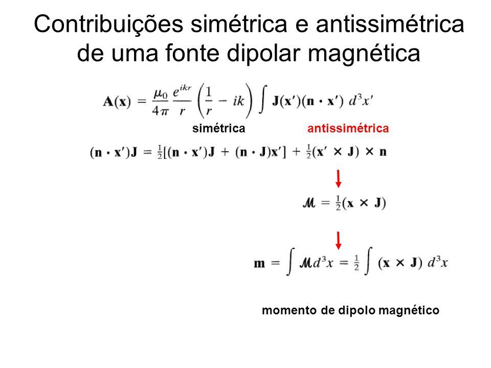 Contribuições simétrica e antissimétrica de uma fonte dipolar magnética