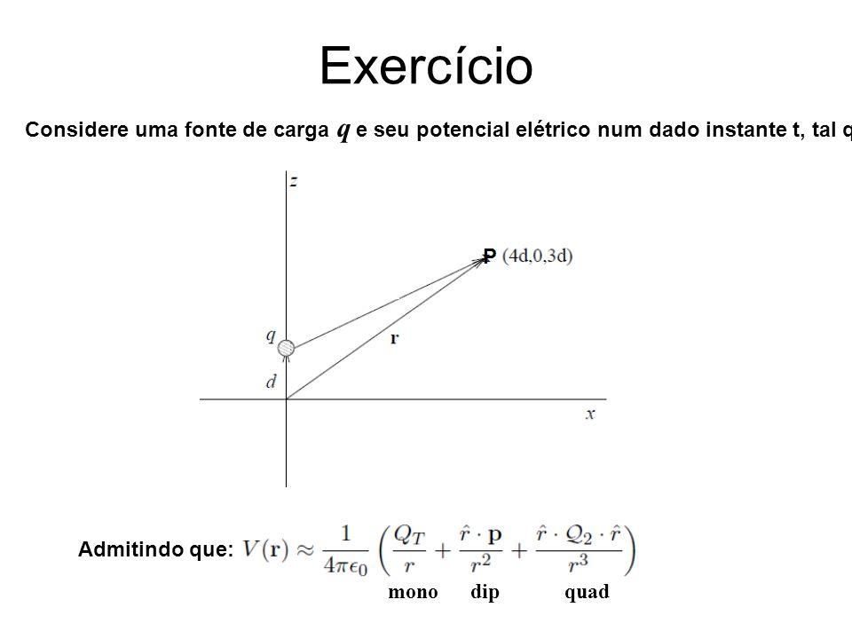 Exercício Considere uma fonte de carga q e seu potencial elétrico num dado instante t, tal que: Admitindo que: