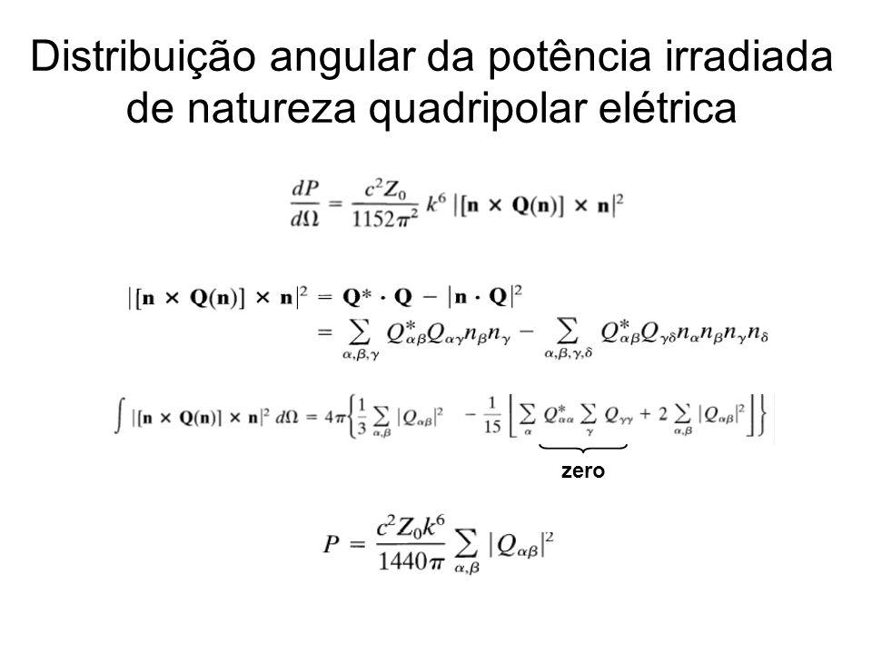 Distribuição angular da potência irradiada de natureza quadripolar elétrica