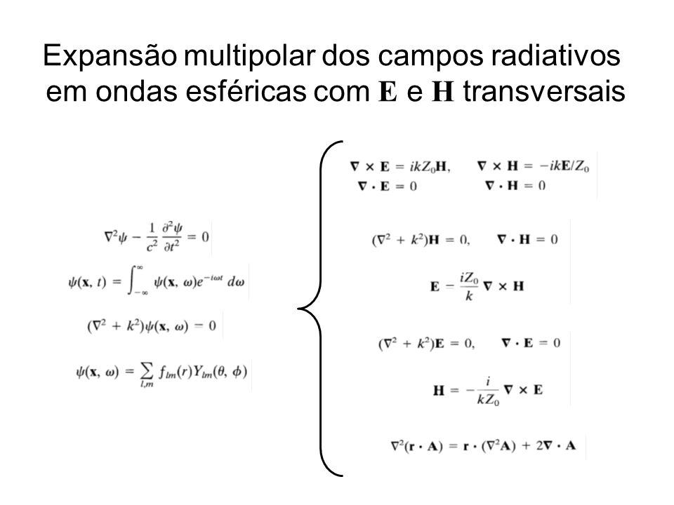 Expansão multipolar dos campos radiativos em ondas esféricas com E e H transversais