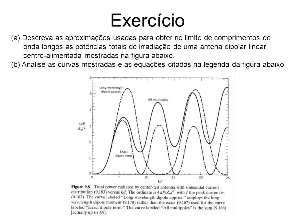 Exercício (a) Descreva as aproximações usadas para obter no limite de comprimentos de.