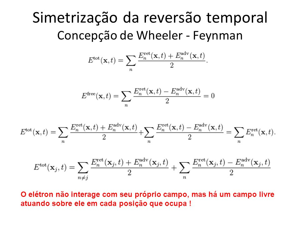 Simetrização da reversão temporal Concepção de Wheeler - Feynman