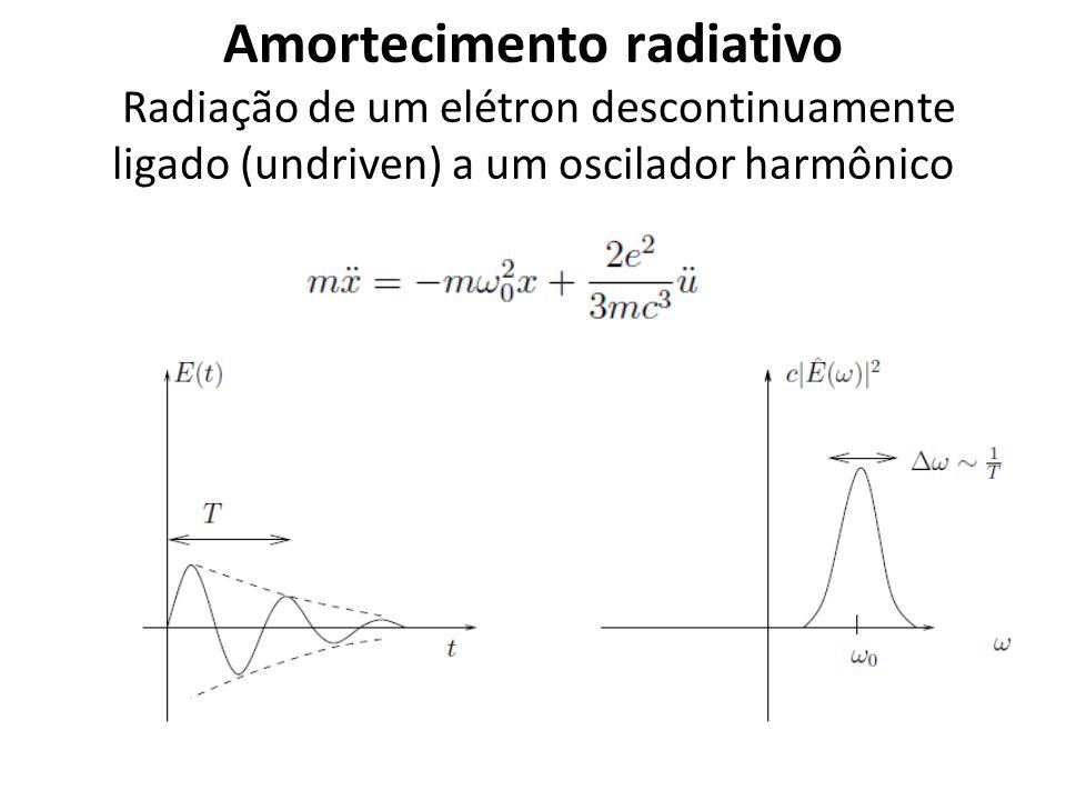 Amortecimento radiativo Radiação de um elétron descontinuamente ligado (undriven) a um oscilador harmônico