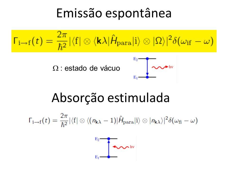 Emissão espontânea W : estado de vácuo Absorção estimulada