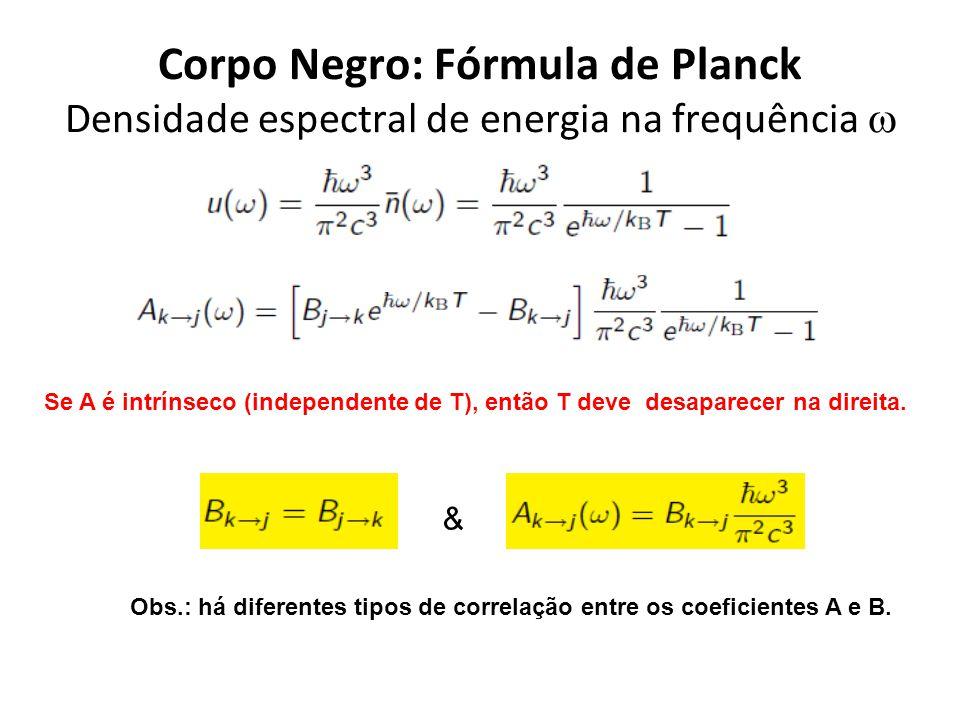 Corpo Negro: Fórmula de Planck Densidade espectral de energia na frequência w