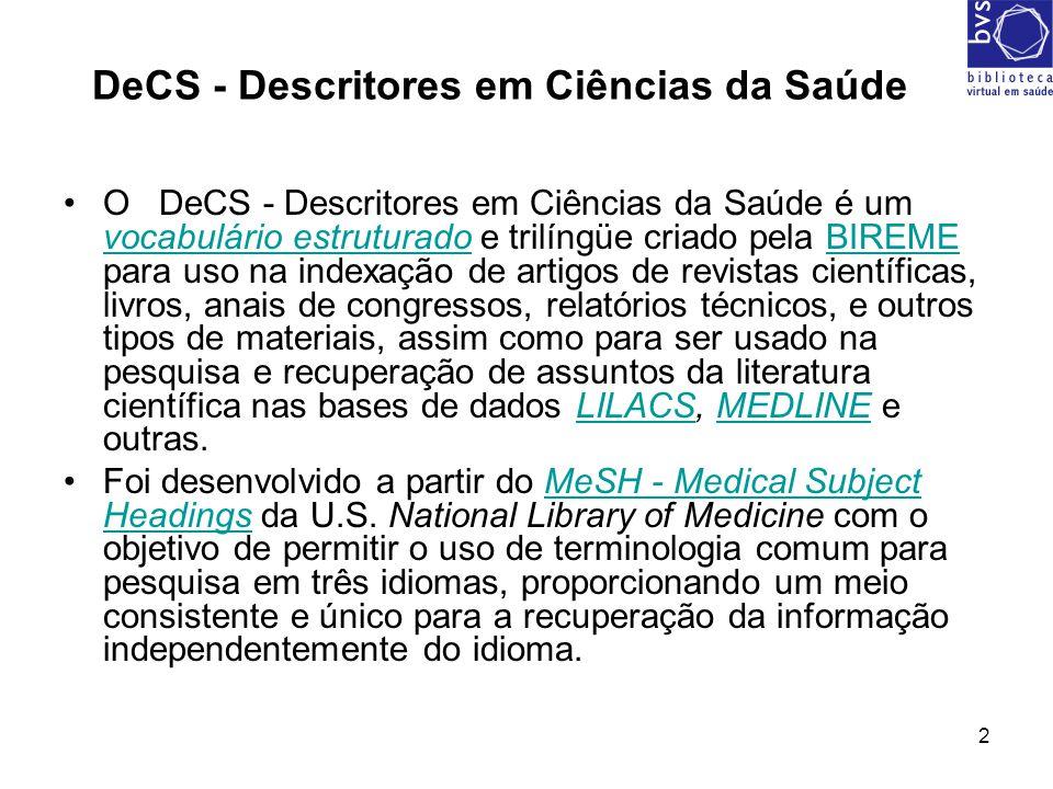 DeCS - Descritores em Ciências da Saúde