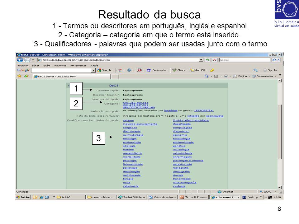 Resultado da busca 1 - Termos ou descritores em português, inglês e espanhol. 2 - Categoria – categoria em que o termo está inserido. 3 - Qualificadores - palavras que podem ser usadas junto com o termo
