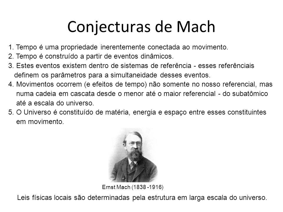 Conjecturas de Mach 1. Tempo é uma propriedade inerentemente conectada ao movimento. 2. Tempo é construído a partir de eventos dinâmicos.
