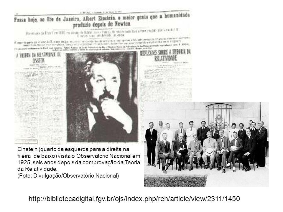 Einstein (quarto da esquerda para a direita na fileira de baixo) visita o Observatório Nacional em 1925, seis anos depois da comprovação da Teoria da Relatividade.
