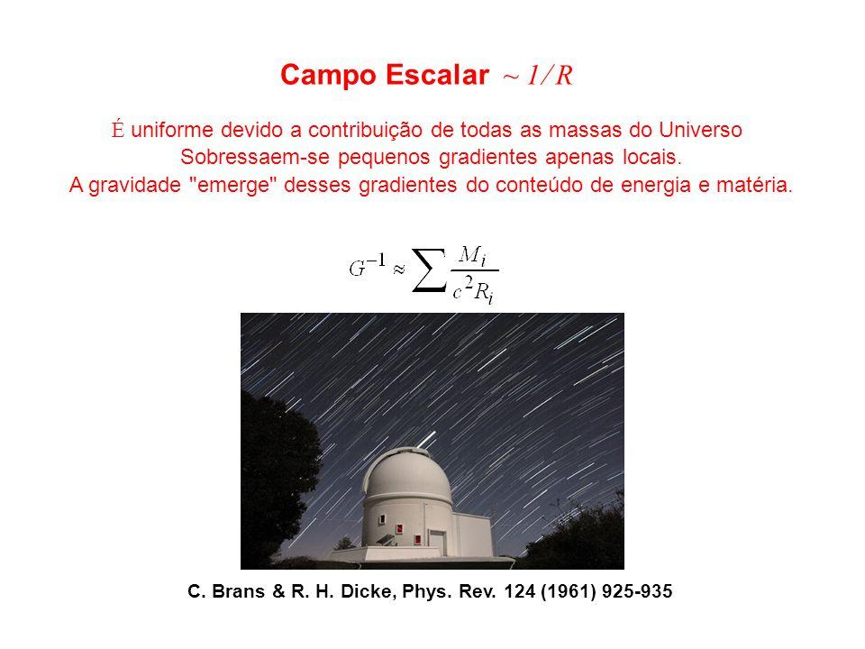 Campo Escalar ~ 1 R É uniforme devido a contribuição de todas as massas do Universo. Sobressaem-se pequenos gradientes apenas locais.
