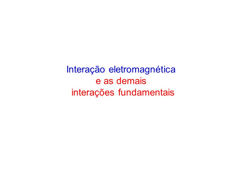 Interação eletromagnética e as demais interações fundamentais
