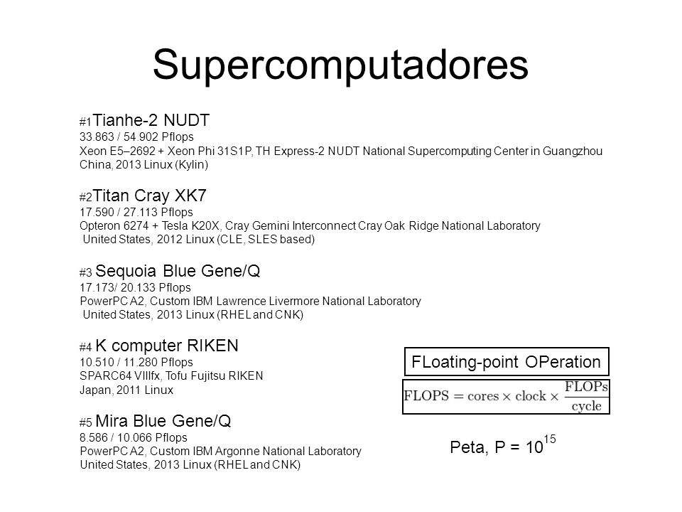 Supercomputadores FLoating-point OPeration Peta, P = 1015
