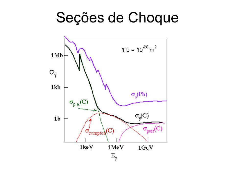 Seções de Choque 1 b = 10-28 m2