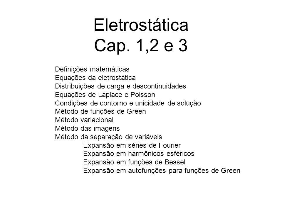 Eletrostática Cap. 1,2 e 3 Definições matemáticas