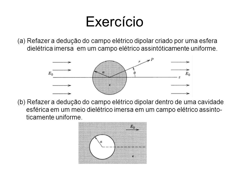 Exercício (a) Refazer a dedução do campo elétrico dipolar criado por uma esfera. dielétrica imersa em um campo elétrico assintóticamente uniforme.