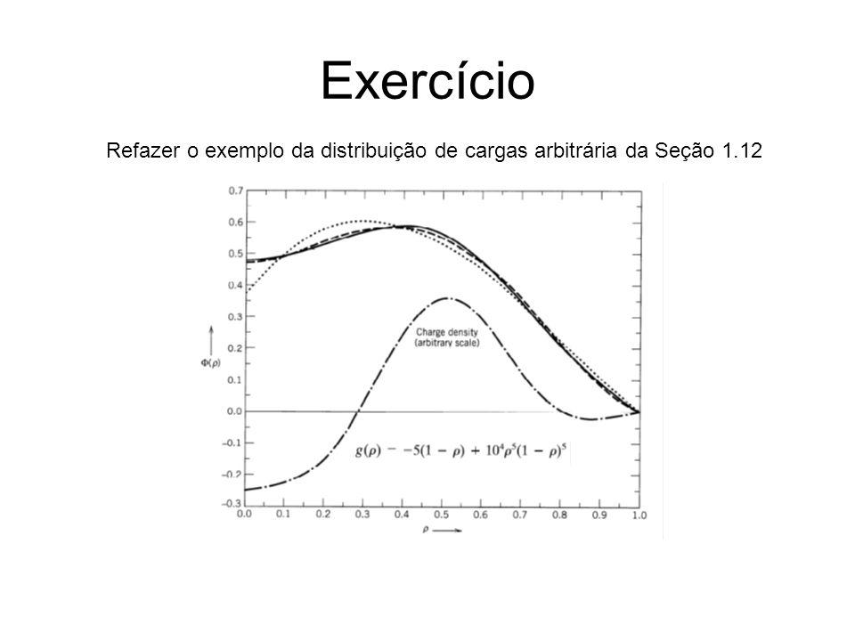 Exercício Refazer o exemplo da distribuição de cargas arbitrária da Seção 1.12