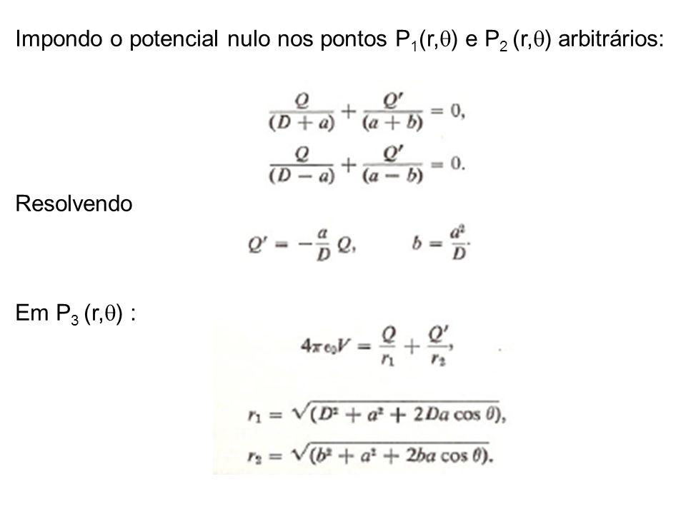 Impondo o potencial nulo nos pontos P1(r,q) e P2 (r,q) arbitrários: