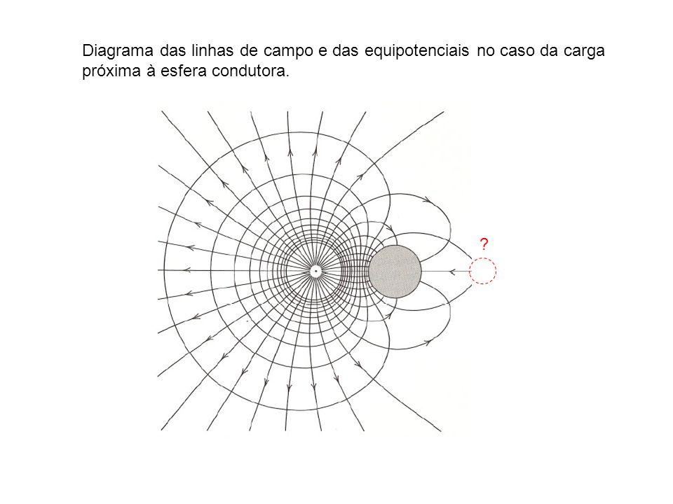 Diagrama das linhas de campo e das equipotenciais no caso da carga