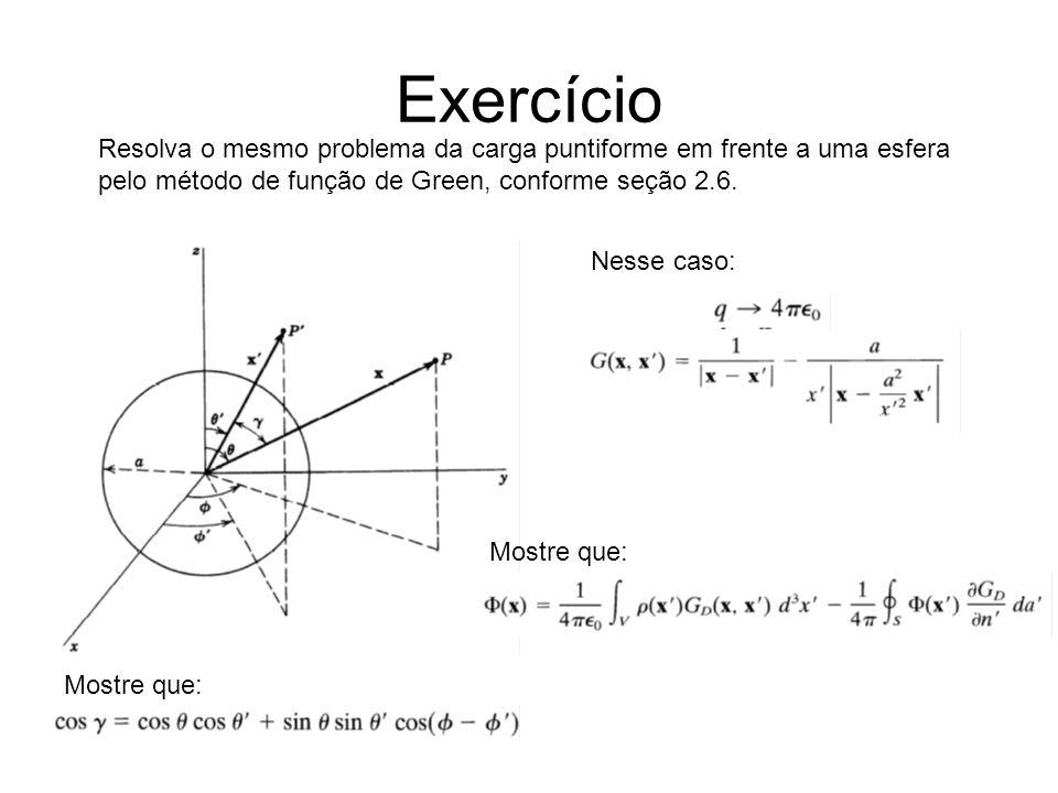 Exercício Resolva o mesmo problema da carga puntiforme em frente a uma esfera. pelo método de função de Green, conforme seção 2.6.