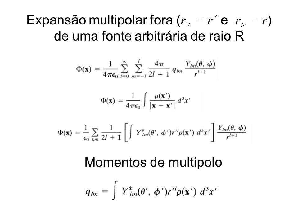 Expansão multipolar fora (r< = r´ e r> = r) de uma fonte arbitrária de raio R