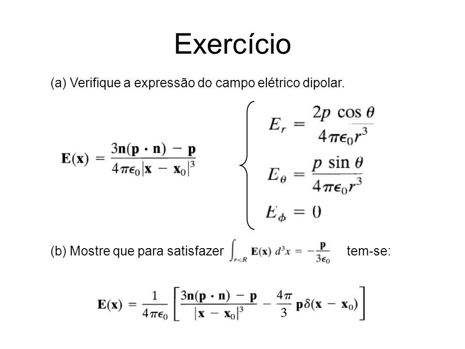 Exercício (a) Verifique a expressão do campo elétrico dipolar.