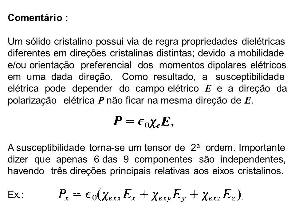 Comentário : Um sólido cristalino possui via de regra propriedades dielétricas. diferentes em direções cristalinas distintas; devido a mobilidade.