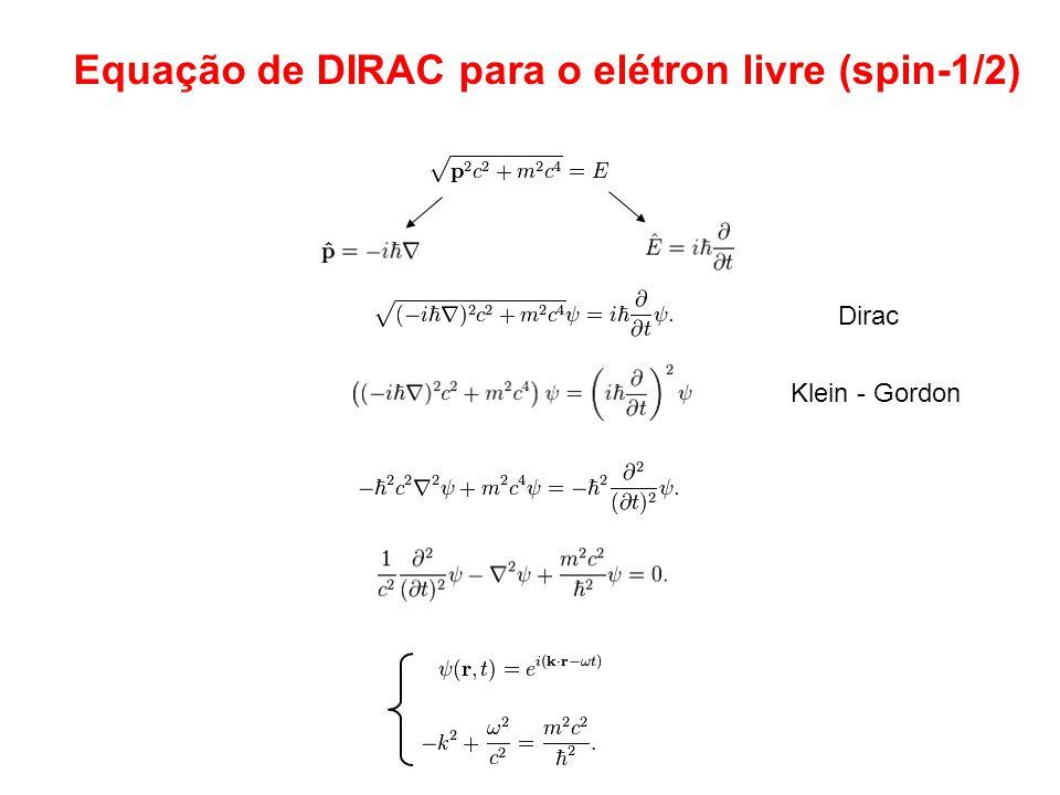 Equação de DIRAC para o elétron livre (spin-1/2)