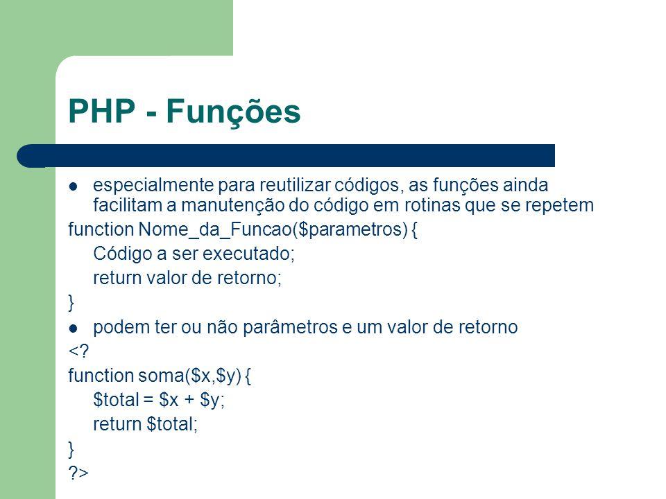 PHP - Funções especialmente para reutilizar códigos, as funções ainda facilitam a manutenção do código em rotinas que se repetem.