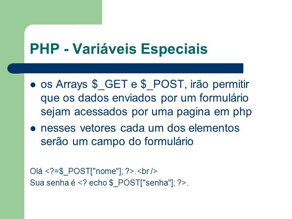 PHP - Variáveis Especiais