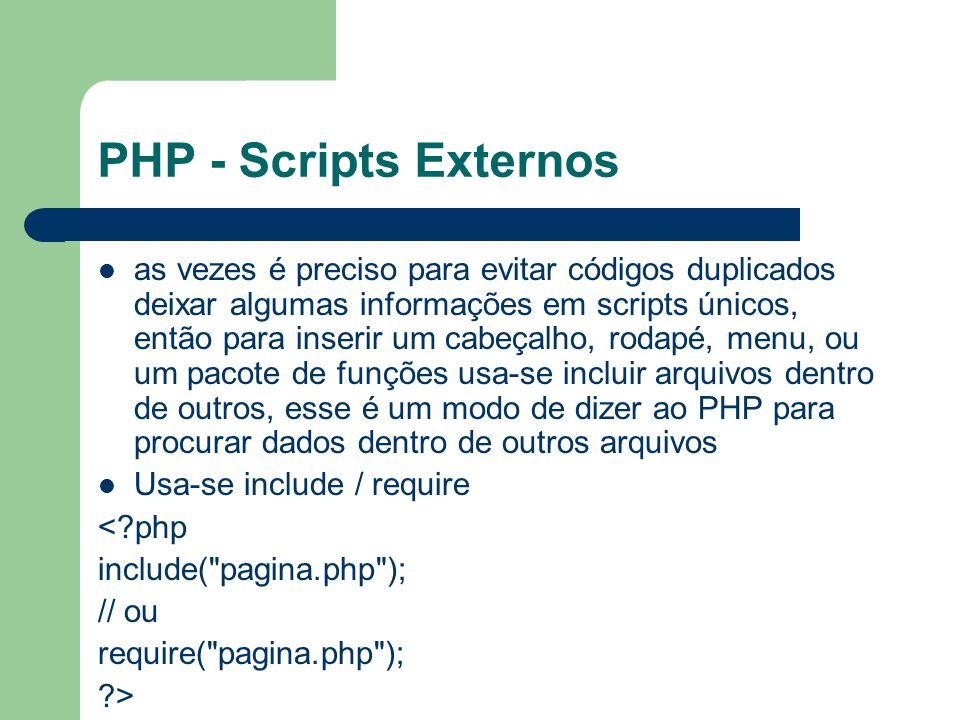 PHP - Scripts Externos