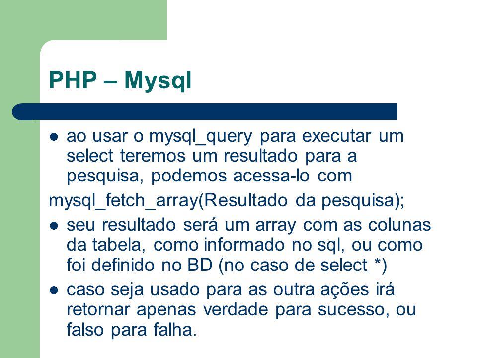 PHP – Mysql ao usar o mysql_query para executar um select teremos um resultado para a pesquisa, podemos acessa-lo com.
