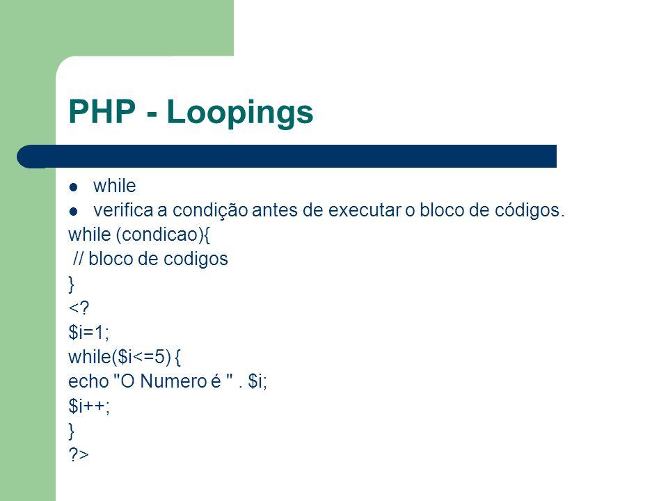 PHP - Loopings while. verifica a condição antes de executar o bloco de códigos. while (condicao){