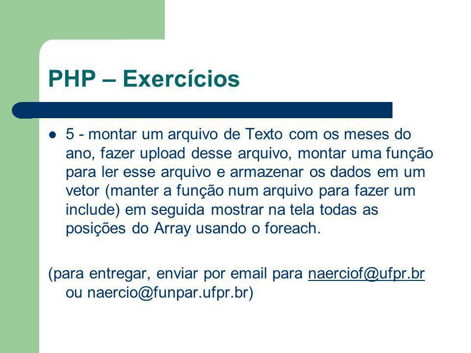 PHP – Exercícios