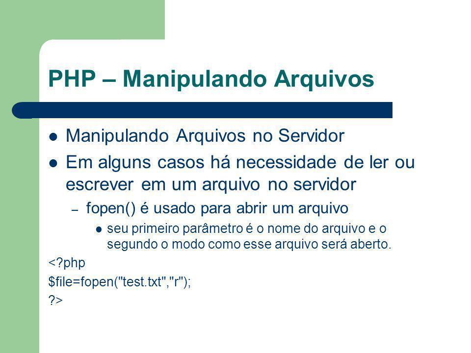 PHP – Manipulando Arquivos