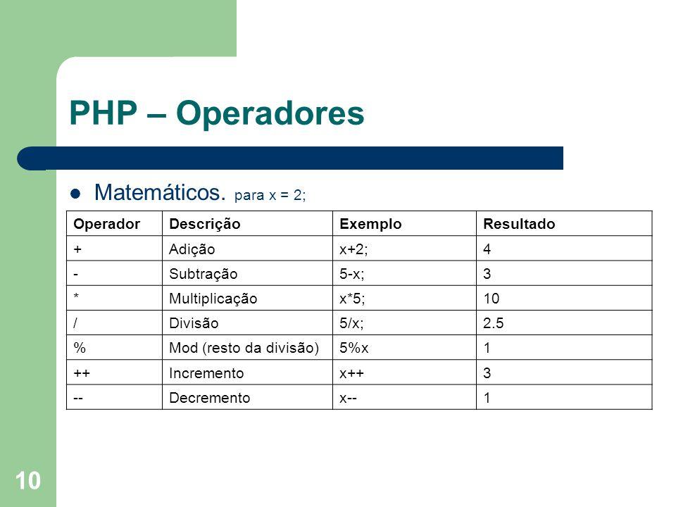 PHP – Operadores Matemáticos. para x = 2; Operador Descrição Exemplo