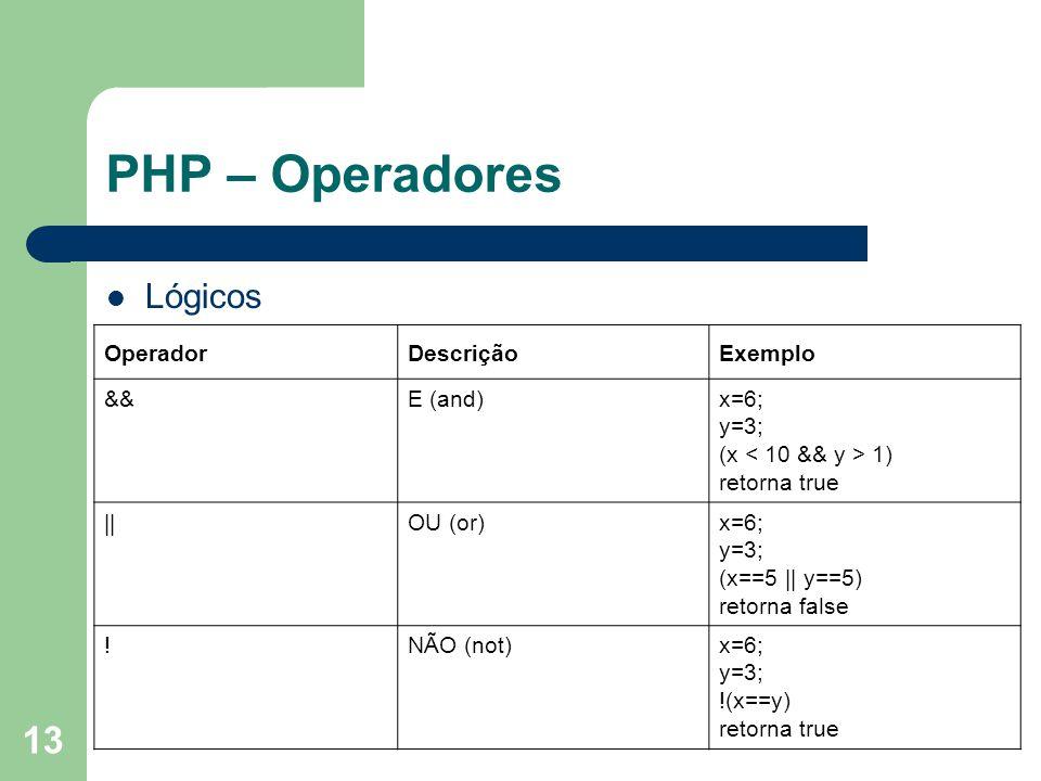 PHP – Operadores Lógicos Operador Descrição Exemplo && E (and) x=6;