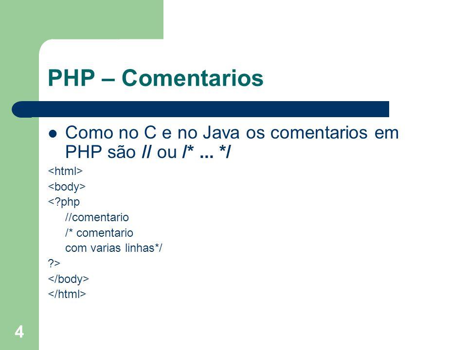PHP – Comentarios Como no C e no Java os comentarios em PHP são // ou /* ... */ <html> <body> < php.