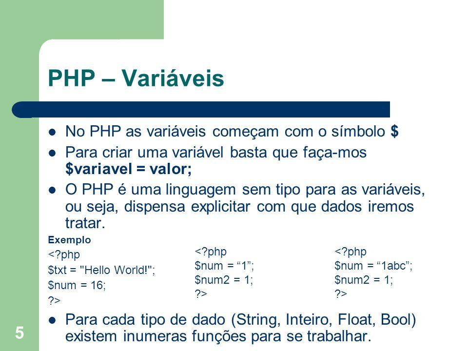 PHP – Variáveis No PHP as variáveis começam com o símbolo $