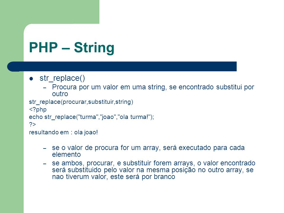 PHP – String str_replace()