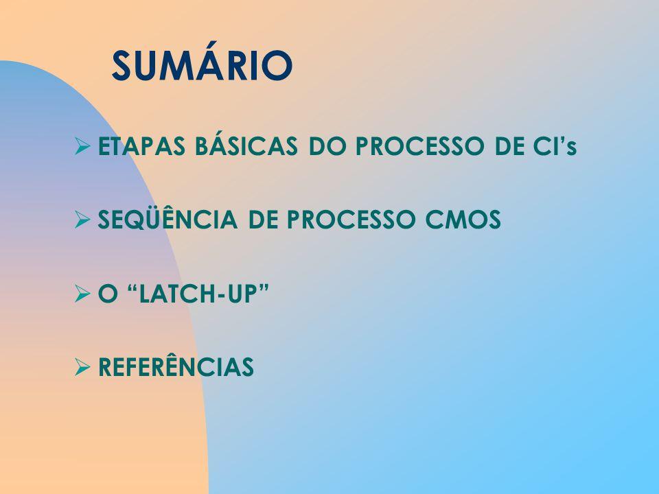 SUMÁRIO ETAPAS BÁSICAS DO PROCESSO DE CI's SEQÜÊNCIA DE PROCESSO CMOS