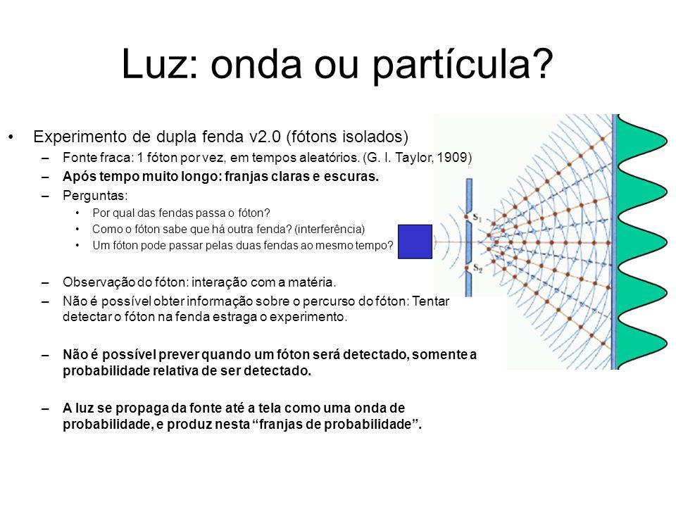 Luz: onda ou partícula Experimento de dupla fenda v2.0 (fótons isolados) Fonte fraca: 1 fóton por vez, em tempos aleatórios. (G. I. Taylor, 1909)
