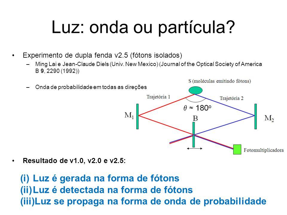Luz: onda ou partícula Luz é gerada na forma de fótons