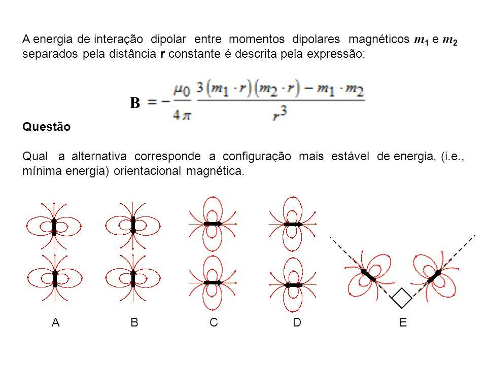 A energia de interação dipolar entre momentos dipolares magnéticos m1 e m2 separados pela distância r constante é descrita pela expressão: